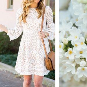 Eliza J. Lace Bell Sleeve Dress